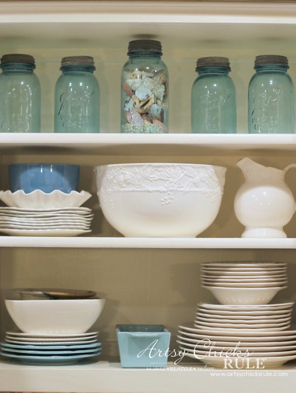 Vintage Collections - Open Kitchen Shelving - #vintage #collections #bluemasonjars #retro #antique artsychicksrule.com