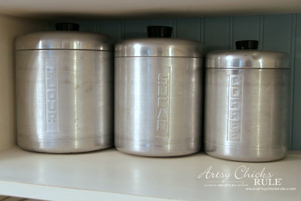 Vintage Collections - Retro Canisters - #vintage #collections #bluemasonjars #retro #antique artsychicksrule.com