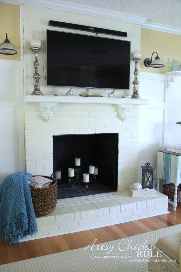 Coastal Summer Home Tour - with Balsam Hill - Coastal Fireplace Decor - #nautical #coastal #homedecor artsychicksrule.com