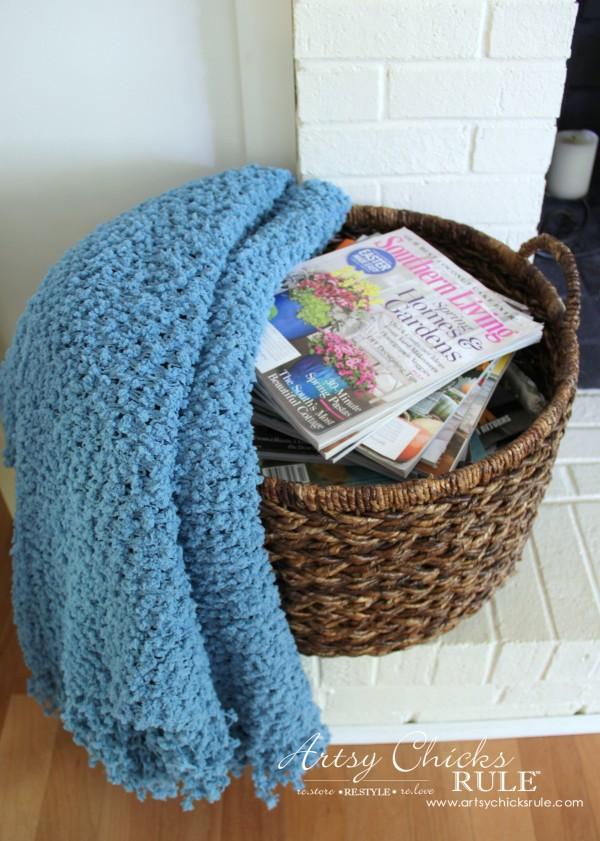 Coastal Summer Home Tour - with Balsam Hill - Magazine Basket - #nautical #coastal #homedecor artsychicksrule.com