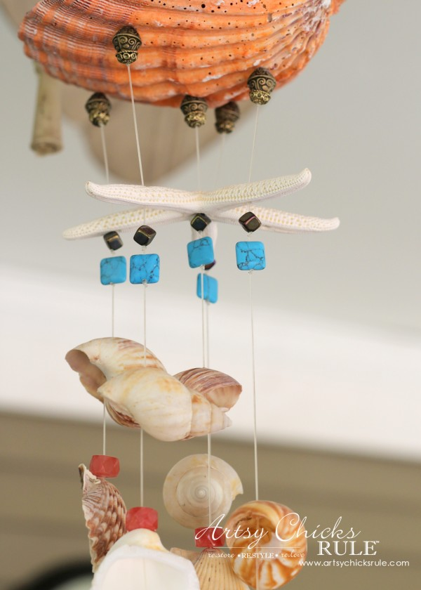 DIY Seashell & Bead Wind Chime - artsychicksrule.com #coastaldecor #beadwindchime #seashellprojects #diywindchime #seashellwindchime