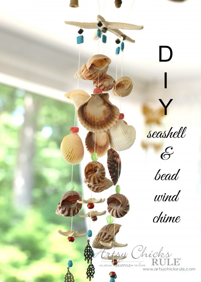 seashell wind chime with colored beads hanging up on ceiling