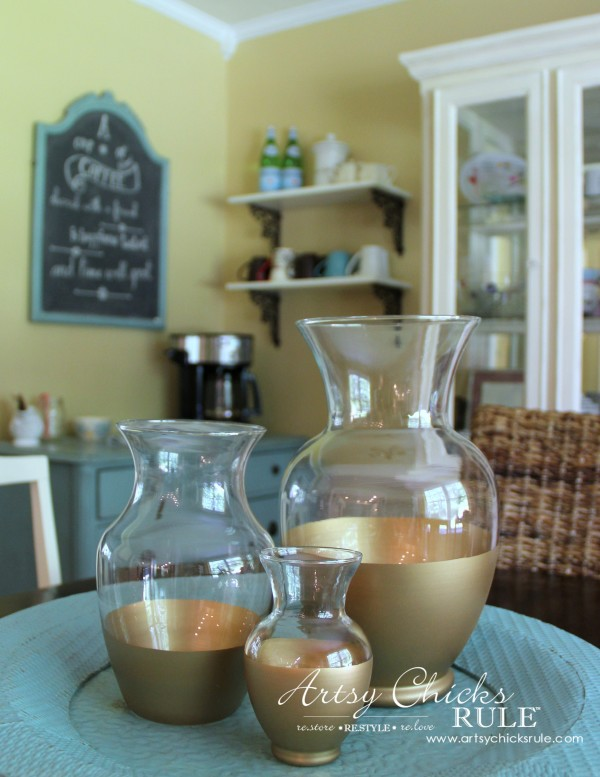 Easy DIY Gold Dipped Jars - SUPER EASY DIY - Thrift Store for 3.50 (compared to retail of $50) - #diy #golddipped artsychicksrule.com