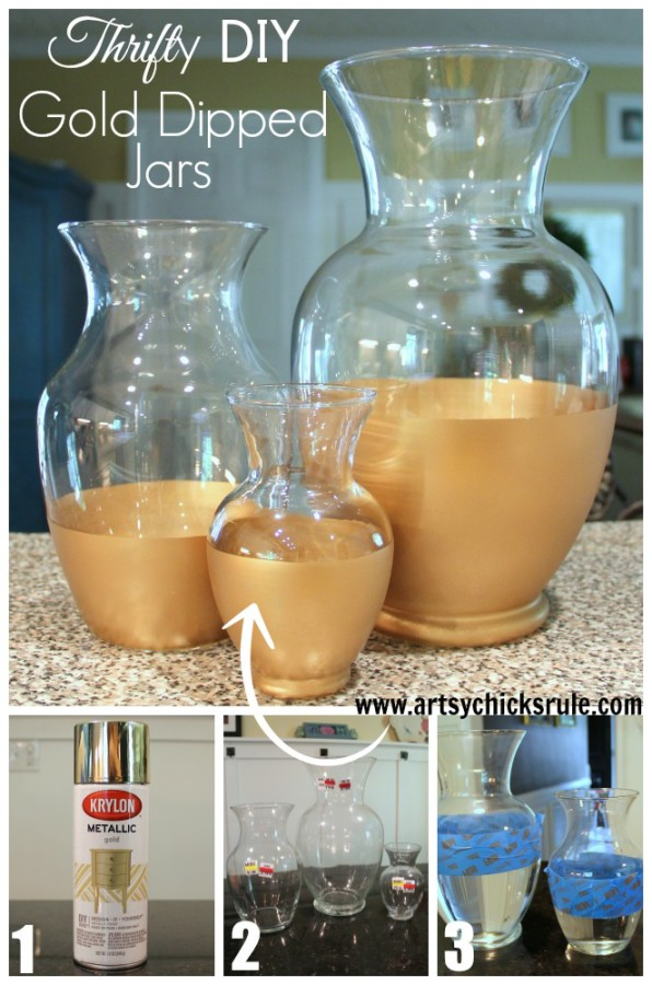 Easy DIY Gold Dipped Jars   TUTORIAL   Thrift Store For $3.50 (compared To  Retail. Need Some Pretty (and Inexpensive) New Home Decor? Photo Gallery