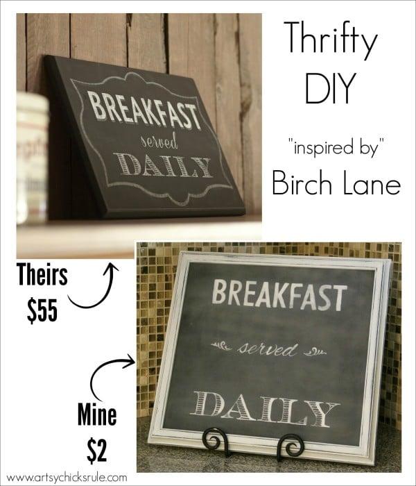 Breakfast Served Daily Chalkboard Art - Trash to Treasure Transformations - BUDGET FRIENDLY DECOR -  artsychicksrule