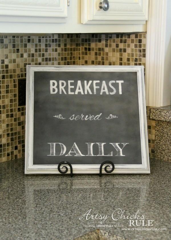 Breakfast Served Daily Chalkboard Art - Trash to Treasure Transformations - EASY Chalk Art - artsychicksrule.com