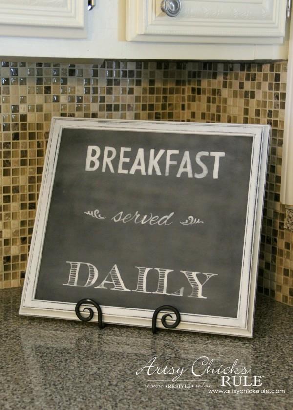 Breakfast Served Daily FAUX Chalkboard Art artsychicksrule.com #breakfastserveddaily #fauxchalkart #chalkboardart #breakfastsign