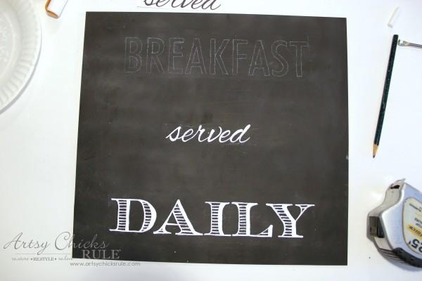 Breakfast Served Daily Chalkboard Art - Trash to Treasure Transformations - chalkboard pens make it easy - artsychicksrule