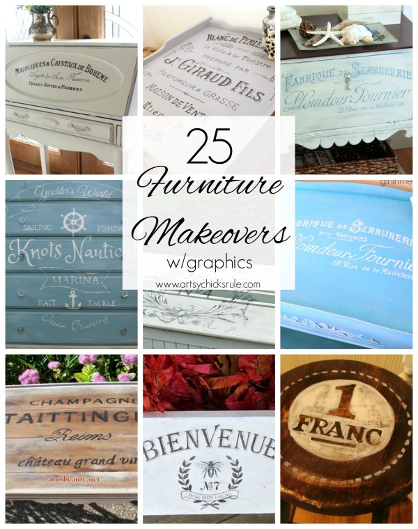 Furniture Makeover with Graphics  - #graphics #frenchgraphics #paint #makeover artsychicksrule.com