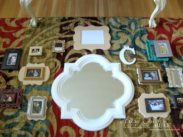 Gallery Wall (Decorating Challenge) - Cut Out Frames Arranging - #gallerywall artsychicksrule