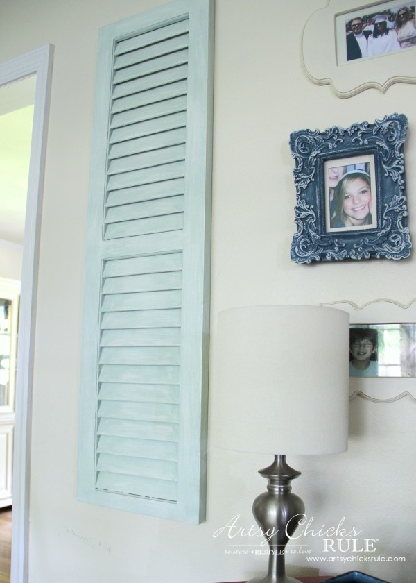 Gallery Wall (Decorating Challenge) - Cut Out Frames - Left Repurposed Shutter -#gallerywall artsychicksrule