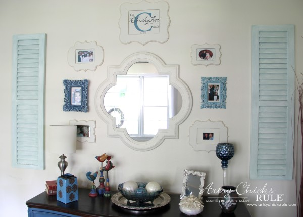 Gallery Wall (Decorating Challenge) - Cut Out Frames and Shutters -#gallerywall artsychicksrule