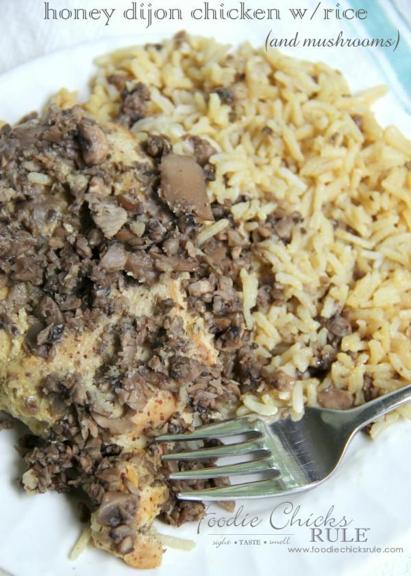Honey Dijon Chicken with Rice - and mushrooms -  So EASY! -foodiechicksrule #easyrecipe #onedish