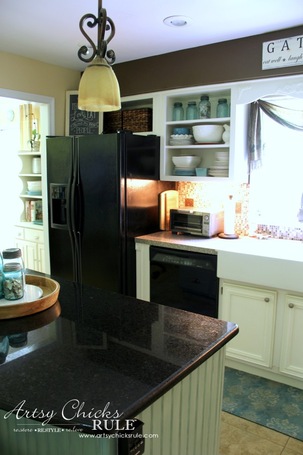 Kitchen Makeover - AFTER Open Shelving - #kitchen #Makeover artychicksrule