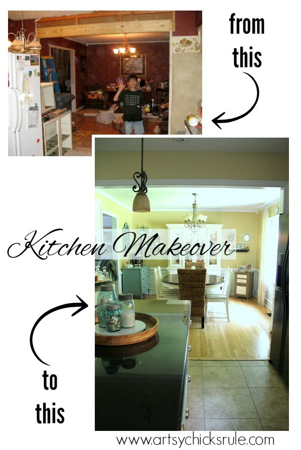 Kitchen Makeover - Before and After Dining Wall - #kitchen #Makeover artychicksrule