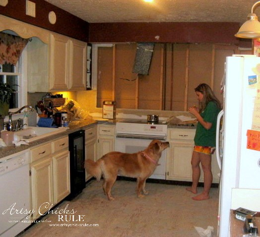 Kitchen Makeover - Removing Half Wall and Floor - #kitchen #Makeover artychicksrule