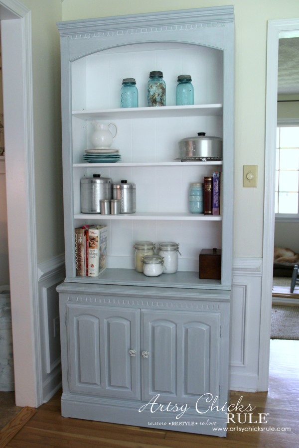 Bookcase Makeover - Coastal Decor - Pale Blue with White Glaze - AFTER - artsychicksrule #generalfinishes #coastaldecor