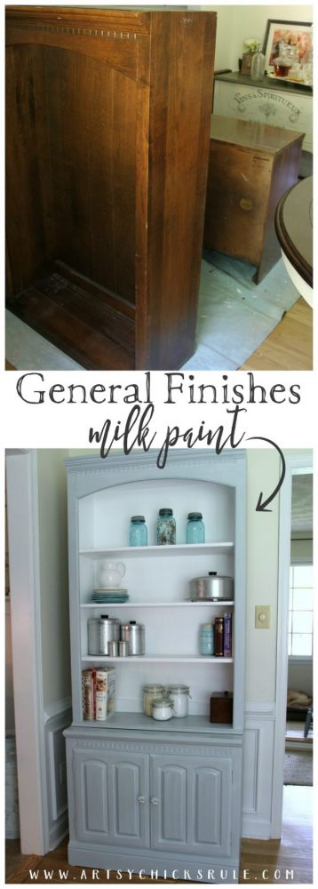 Bookcase Makeover - Coastal Decor - Pale Blue with White Glaze - before and AFTER - artsychicksrule #generalfinishes #coastaldecor #bookcasemakeover #coastalstyle #bookcaseideas