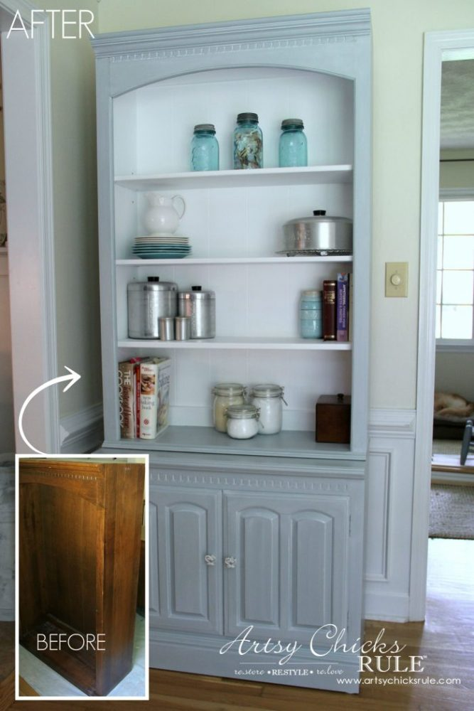 Bookcase Makeover - Coastal Blue with White Glaze - BEFORE - artsychicksrule #generalfinishes #coastaldecor