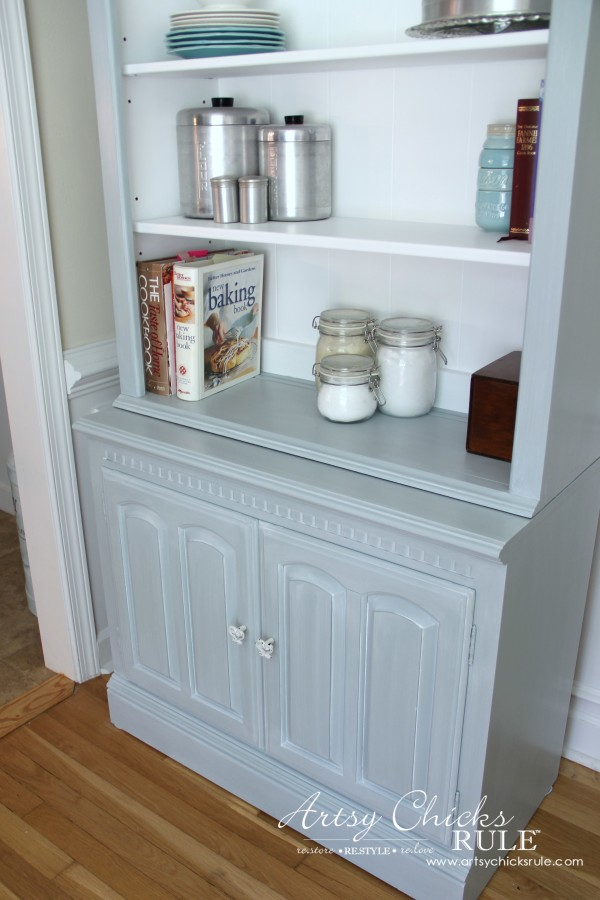 Bookcase Makeover - Coastal Decor - Pale Blue with White Glaze - styled - artsychicksrule #generalfinishes #coastaldecor