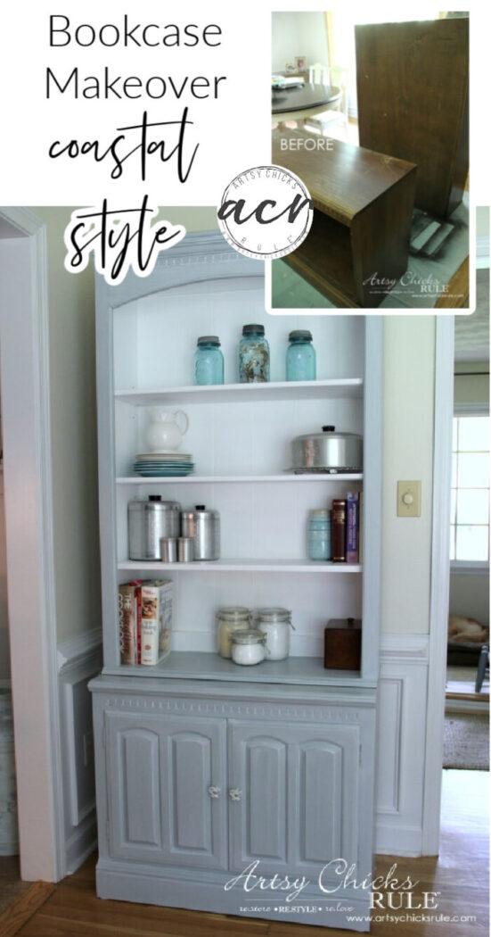 Bookcase Makeover - Coastal Blue with White Glaze - artsychicksrule.com #coastalstyle #bookcasemakeover