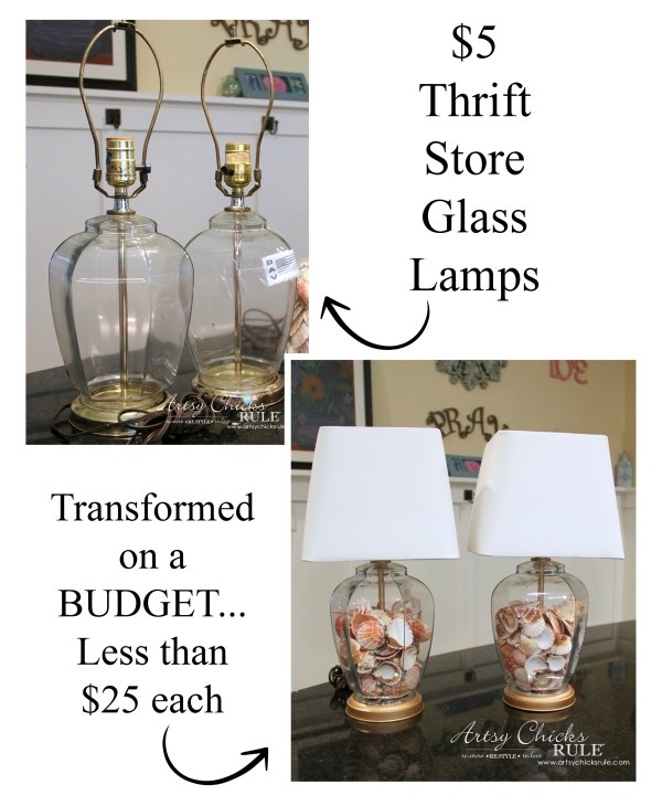 Thrifty Coastal Lamp Makeover - $10 for the PAIR - HUGE Savings !! -artsychicksrule