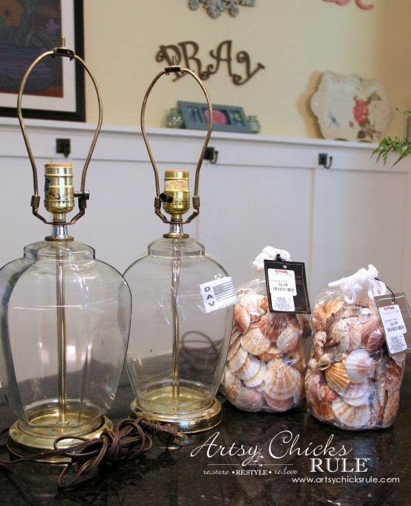 Thrifty Coastal Lamp Makeover - BEFORE - $10 lamps !!artsychicksrule