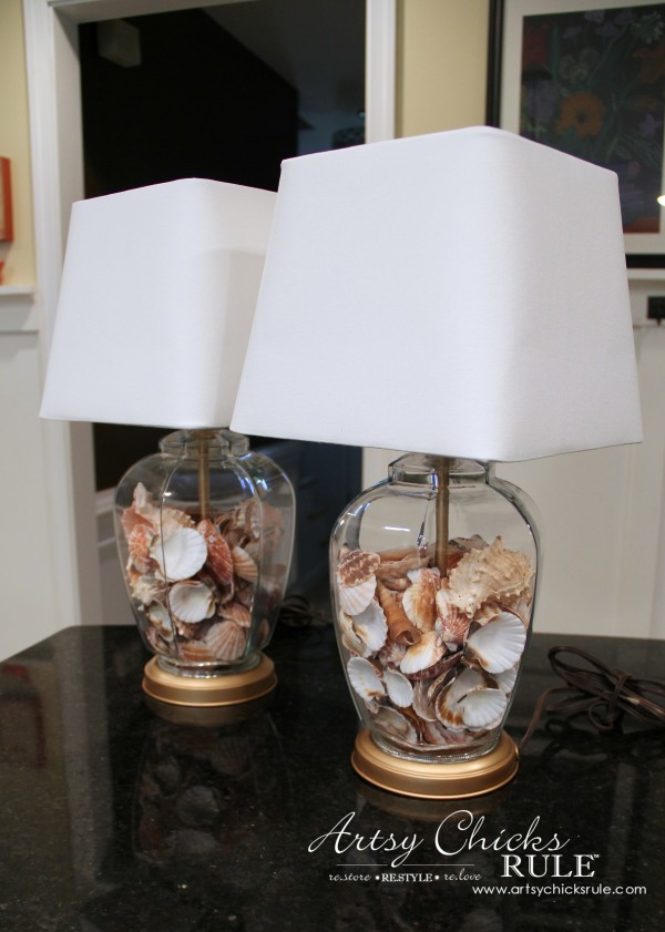 Thrifty Coastal Lamp Makeover - BIG Savings!! - New Shades and Shells - artsychicksrule