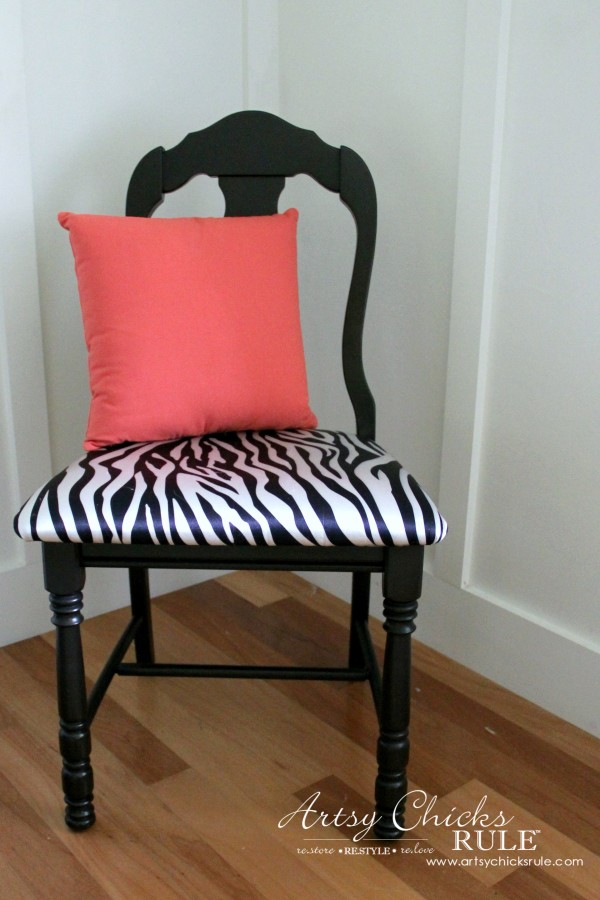Zebra Chair Makeover (Animal Theme)  - touch of coral - $5 dollar thrifty makeover - artsychicksrule