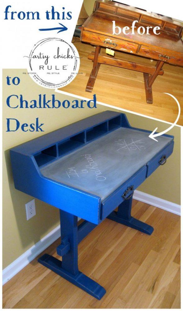 Chalkboard Desk - Make the top of the desk a chalkboard - $10 thrifty find - artsychicksrule #chalkpaint #graphite #napoleonicblue