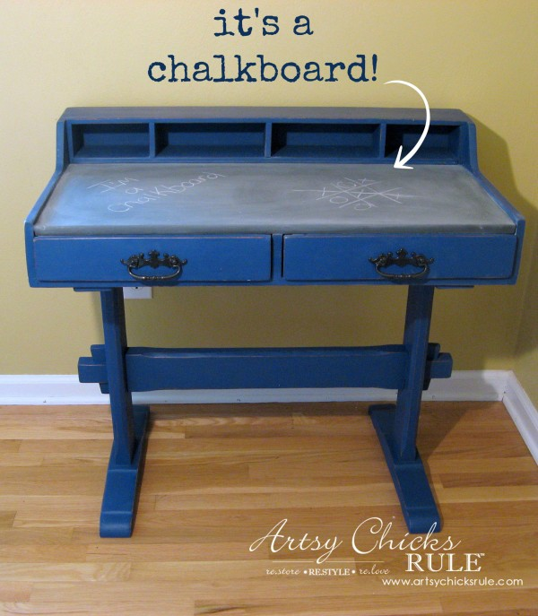 Chalkboard Desk - Cute makeover for kids room - $10 thrifty find - artsychicksrule #chalkpaint #graphite #napoleonicblue