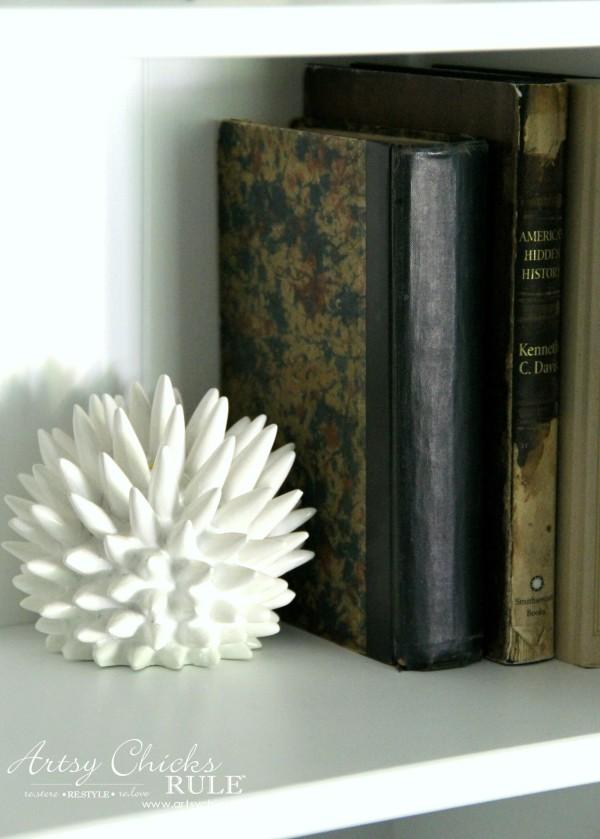 Coastal Styled Bookshelves (Decor Challenge) - Groupings 1 - #coastaldecor #styling artsychicksrule