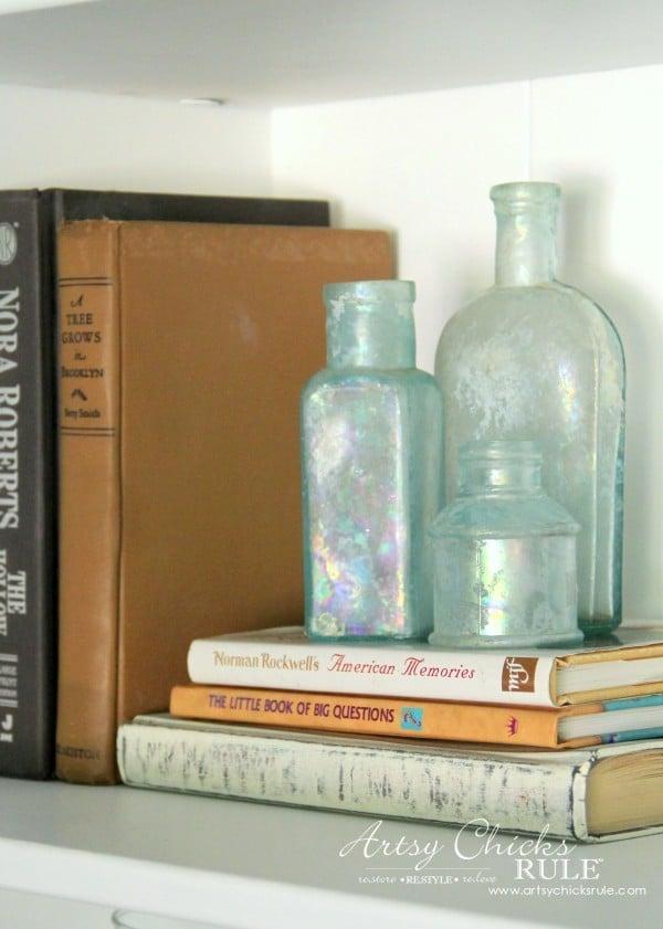 Coastal Styled Bookshelves (Decor Challenge) - Groupings Books and Bottles - #coastaldecor #styling artsychicksrule