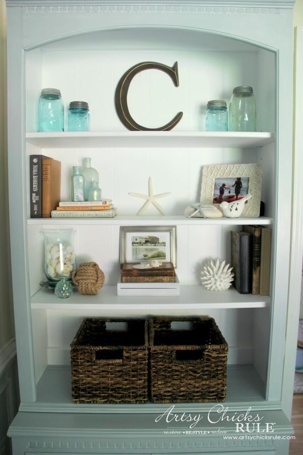 Coastal Styled Bookshelves Decor Challenge Add Baskets For Texture Coastaldecor