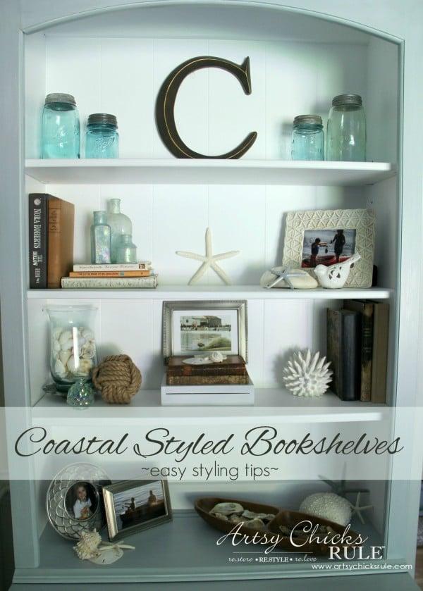 Coastal Styled Bookshelves (Decor Challenge) - how to style shelves - #coastaldecor #styling artsychicksrule