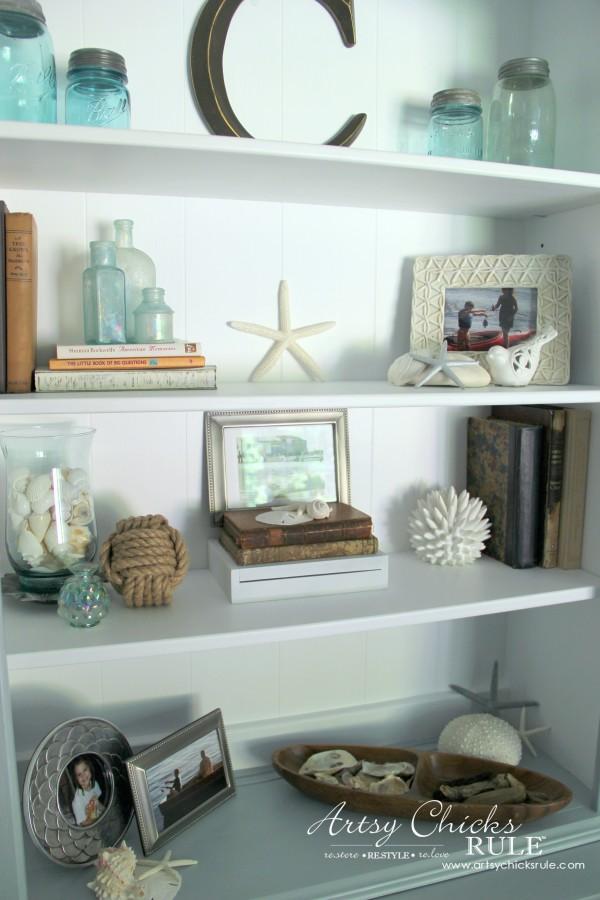 Coastal Styled Bookshelves (Decor Challenge) - #interiordesign #coastaldecor #styling artsychicksrule