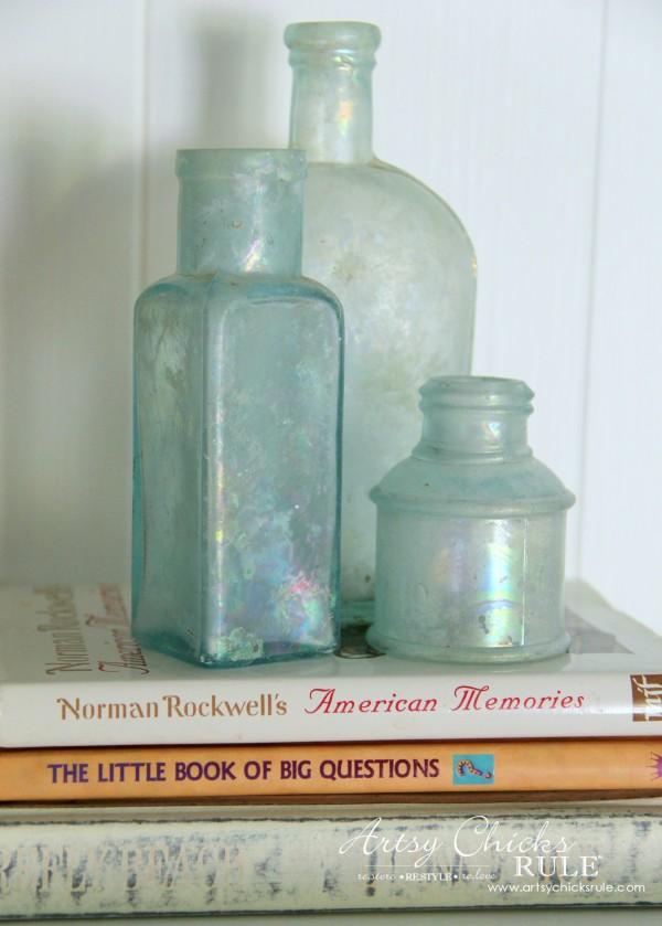 Coastal Styled Bookshelves (Decor Challenge) - old blue vintage bottles - #coastaldecor #styling artsychicksrule