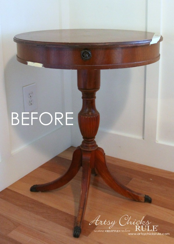 French Styled Side Table Makeover   Artsychicksrule.com #aubussonblue