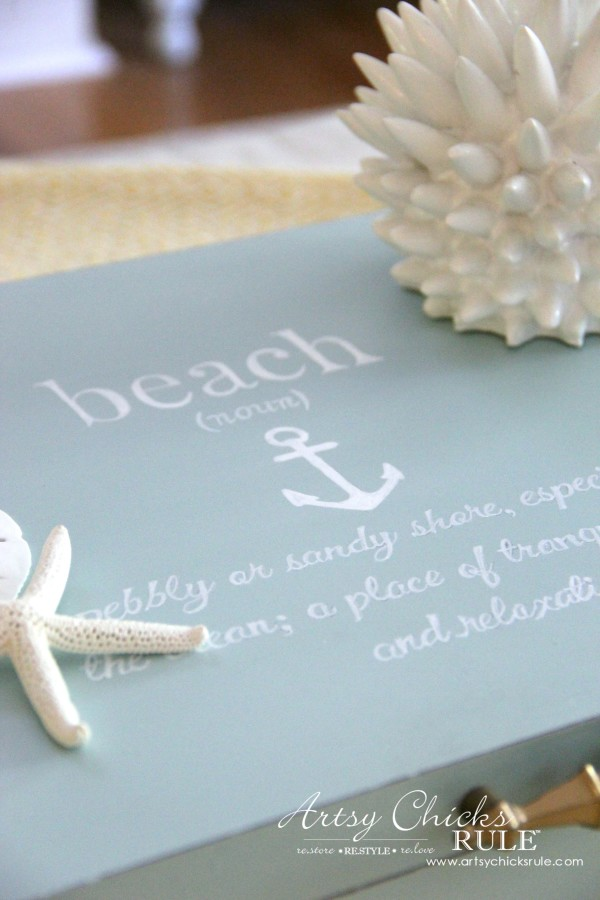 Robin's Egg Blue Beach Box - (Thrifted Flatware Box Makeover) - BEACH decor - #beachdecor #coastal #DIY artsychicksrule