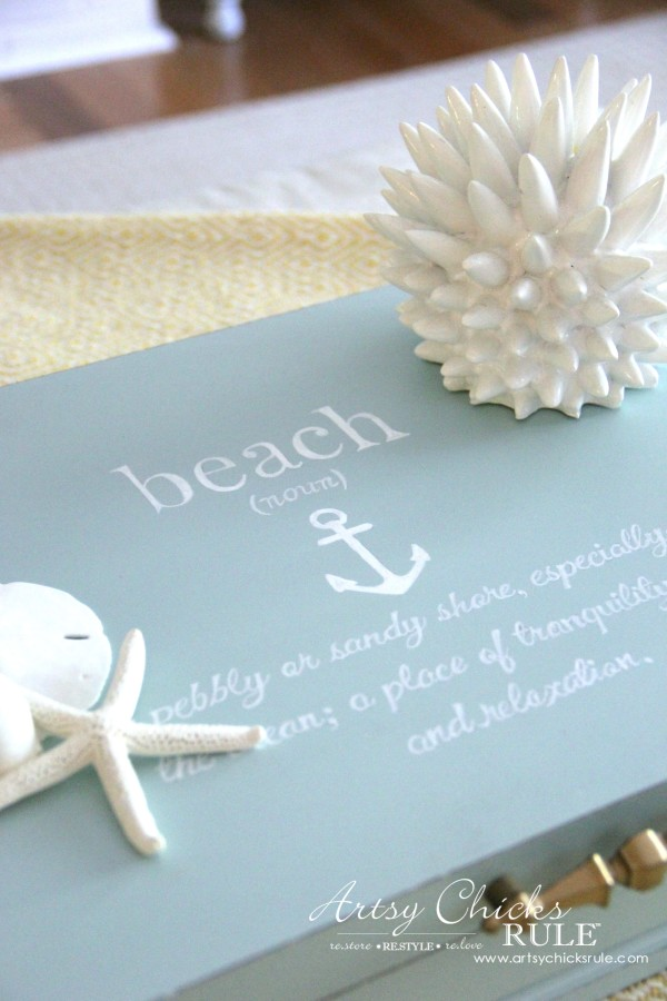 blue box with seashells and beach quote