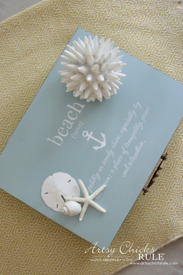 Robin's Egg Blue Beach Box - (Thrifted Flatware Box Makeover) - EASY DIY - #beachdecor #coastal #DIY artsychicksrule