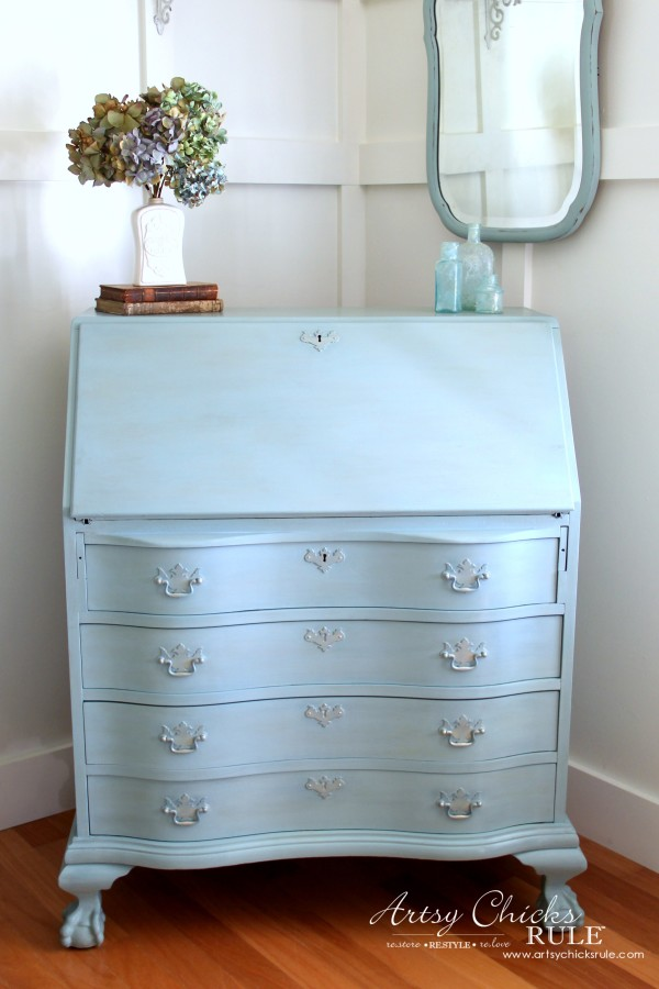 Secretary Desk Makeover (Chalk Paint® by Annie Sloan) - AFTER 1 - #duckeggblue #sp #chalkpaint artsychicksrule