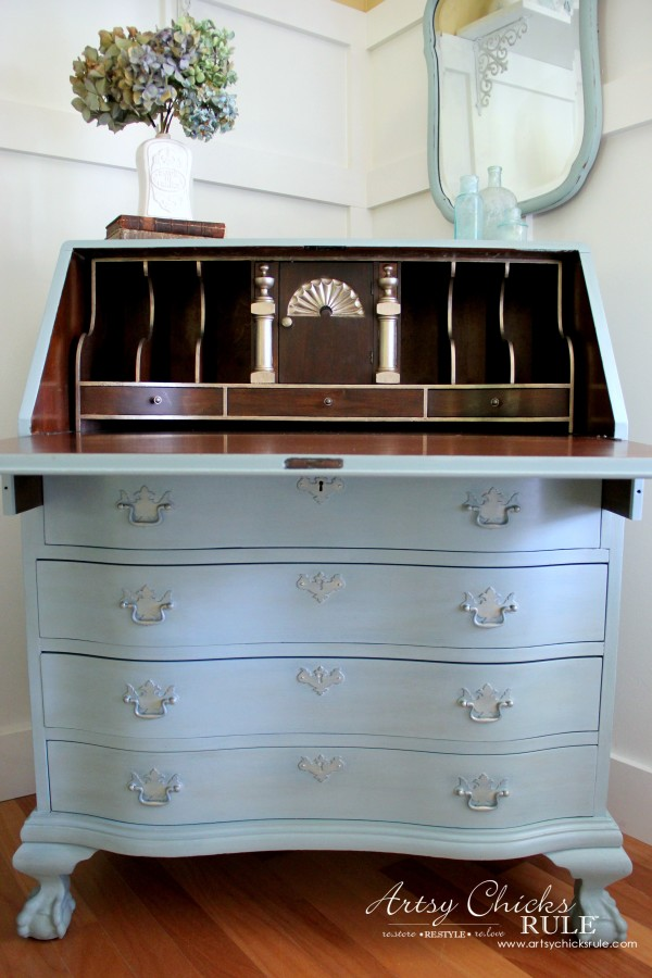 Secretary Desk Makeover Chalk Paint By Annie Sloan After Inside With Gold