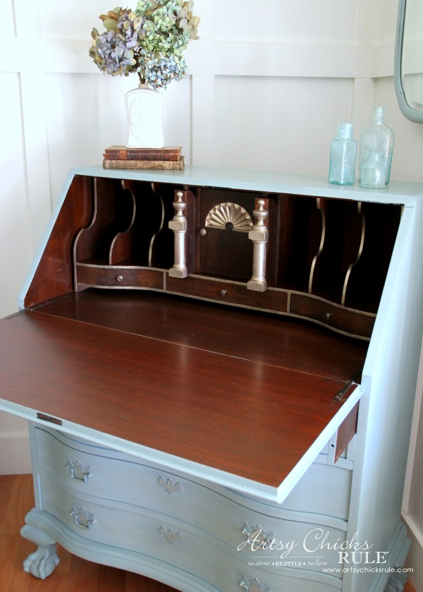 Secretary Desk Makeover (Chalk Paint® by Annie Sloan) - AFTER Inside 1 - #duckeggblue #sp #chalkpaint artsychicksrule.com