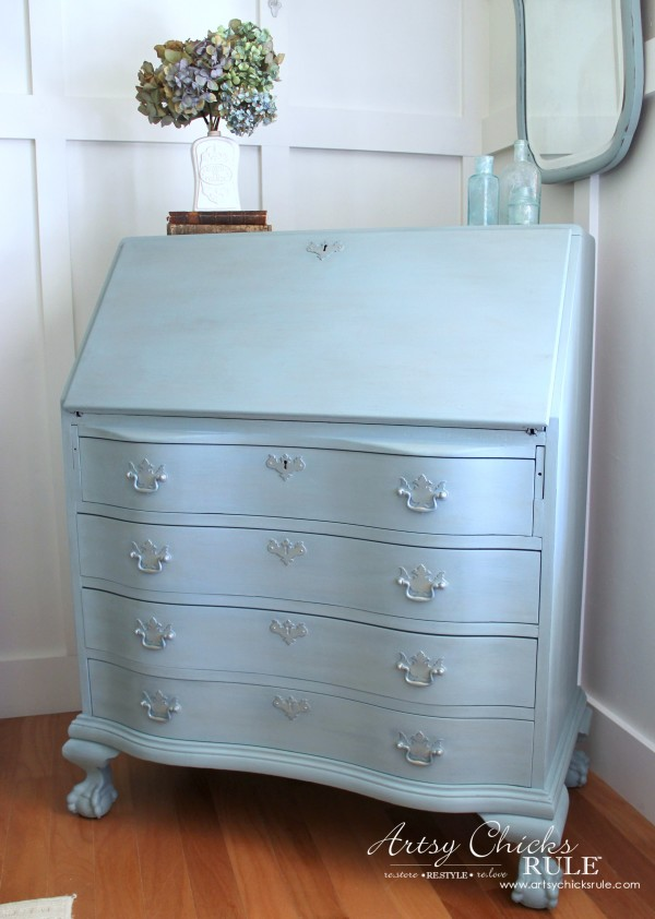 Secretary Desk Makeover (Chalk Paint® by Annie Sloan) - AFTER Side - #duckeggblue #sp #chalkpaint artsychicksrule.com