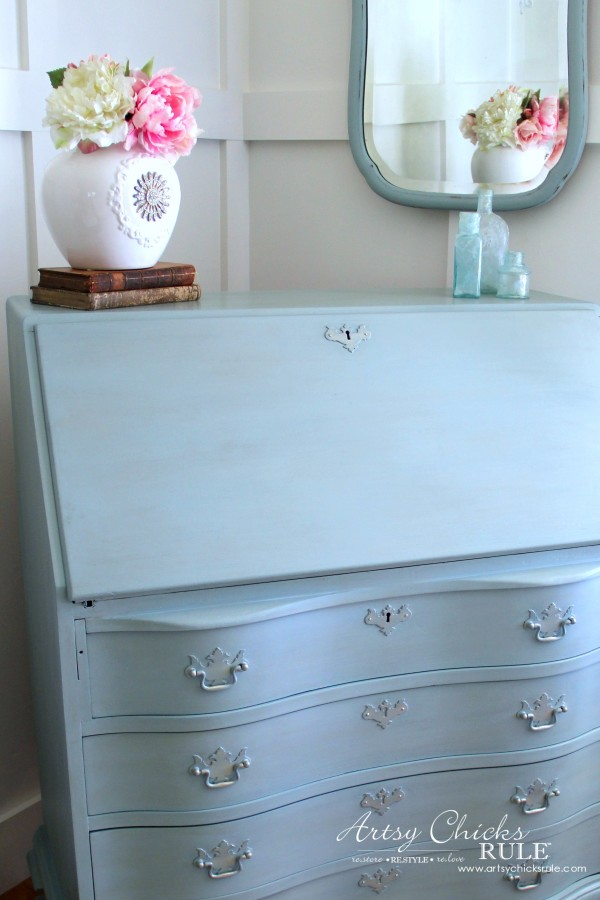 Secretary Desk Makeover (Chalk Paint® by Annie Sloan) - AFTER up close - #duckeggblue #sp #chalkpaint artsychicksrule