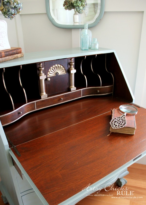 Secretary Desk Makeover (Chalk Paint® by Annie Sloan) - After inside 3 - #duckeggblue #sp #chalkpaint artsychicksrule