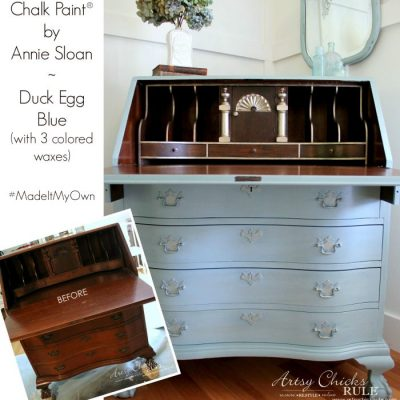 Secretary Desk Makeover w/ Duck Egg Blue & 3 Colored Waxes (Chalk Paint® by Annie Sloan)