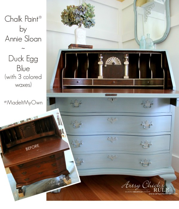 Secretary Desk Makeover (Chalk Paint® by Annie Sloan) - Before & After - #duckeggblue #sp #chalkpaint artsychicksrule.com