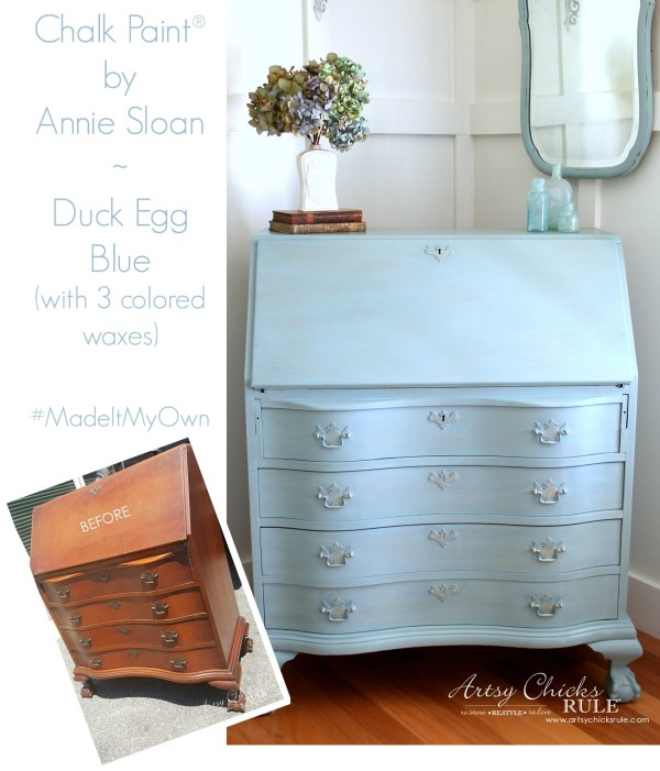 Secretary Desk Makeover (Chalk Paint® by Annie Sloan) - Before and After - #duckeggblue #sp #chalkpaint artsychicksrule.com